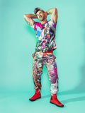 Print All Over Me avaf x Tom of Finland Tracksuit Pant with Rainbow Ass T-Shirt modeled by Adam Killian
