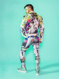 Print All Over Me avaf x Tom of Finland Leggings with Biker Jacket modeled by Adam Killian