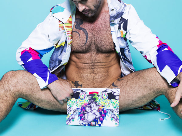 Print All Over Me avaf x Tom of Finland Clutch modeled by Adam Killian