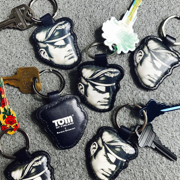 Tom of Finland Biker head Leather Keyring