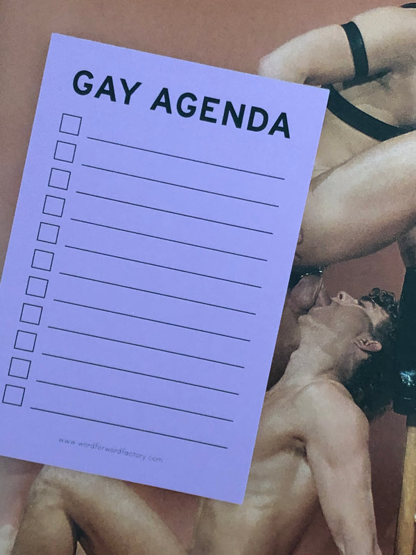 GAY AGENDA NOTEPAD by Word for Word Factory