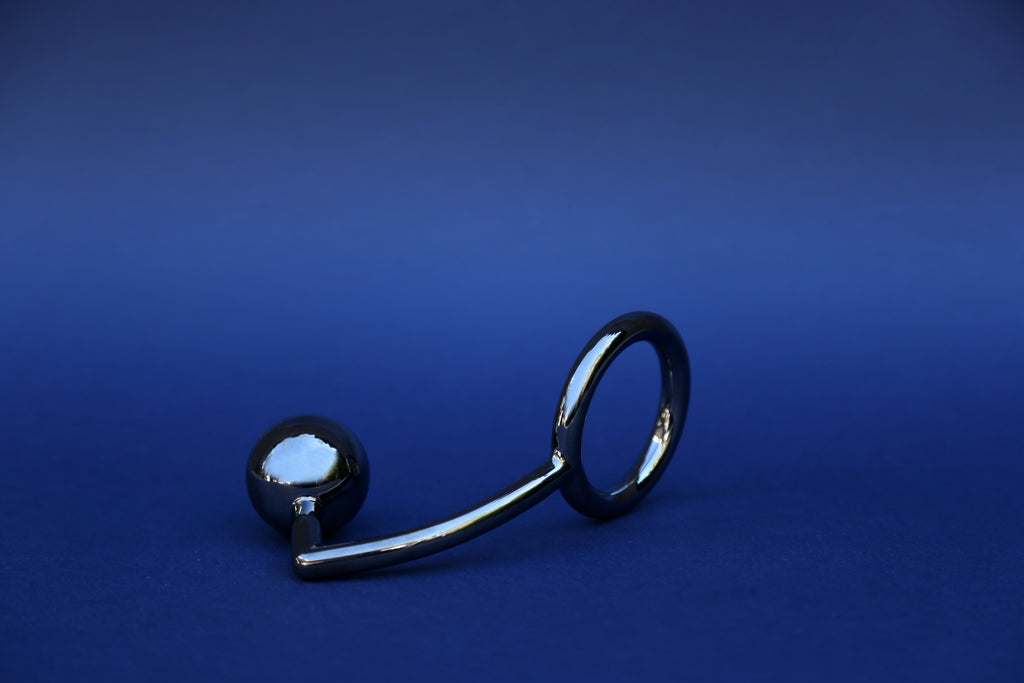 Tom of Finland Steel Cock Ring with Anal Ball