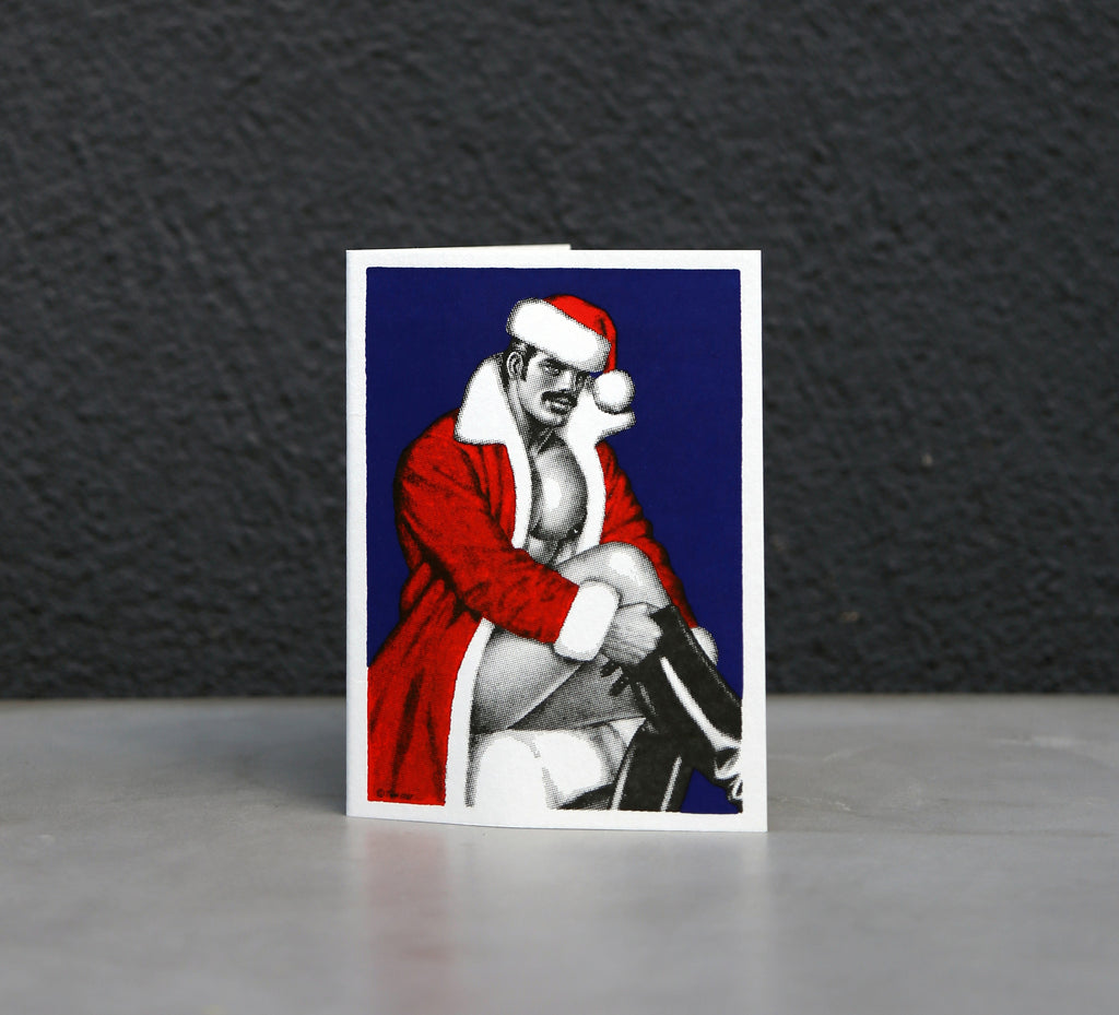 Black and White Santa's Boot Tom of Finland Holiday Card