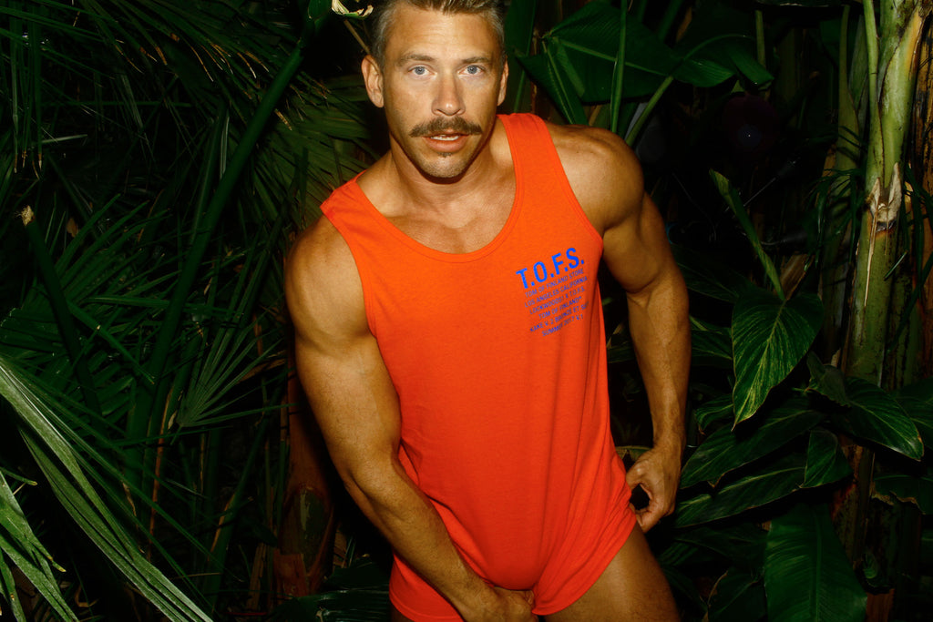 "Tom of Finland Store x Lockwood 51 Tank Top ""Kake V.2 Bronzè et Sexy"" modeled by Terry Miller image 2"
