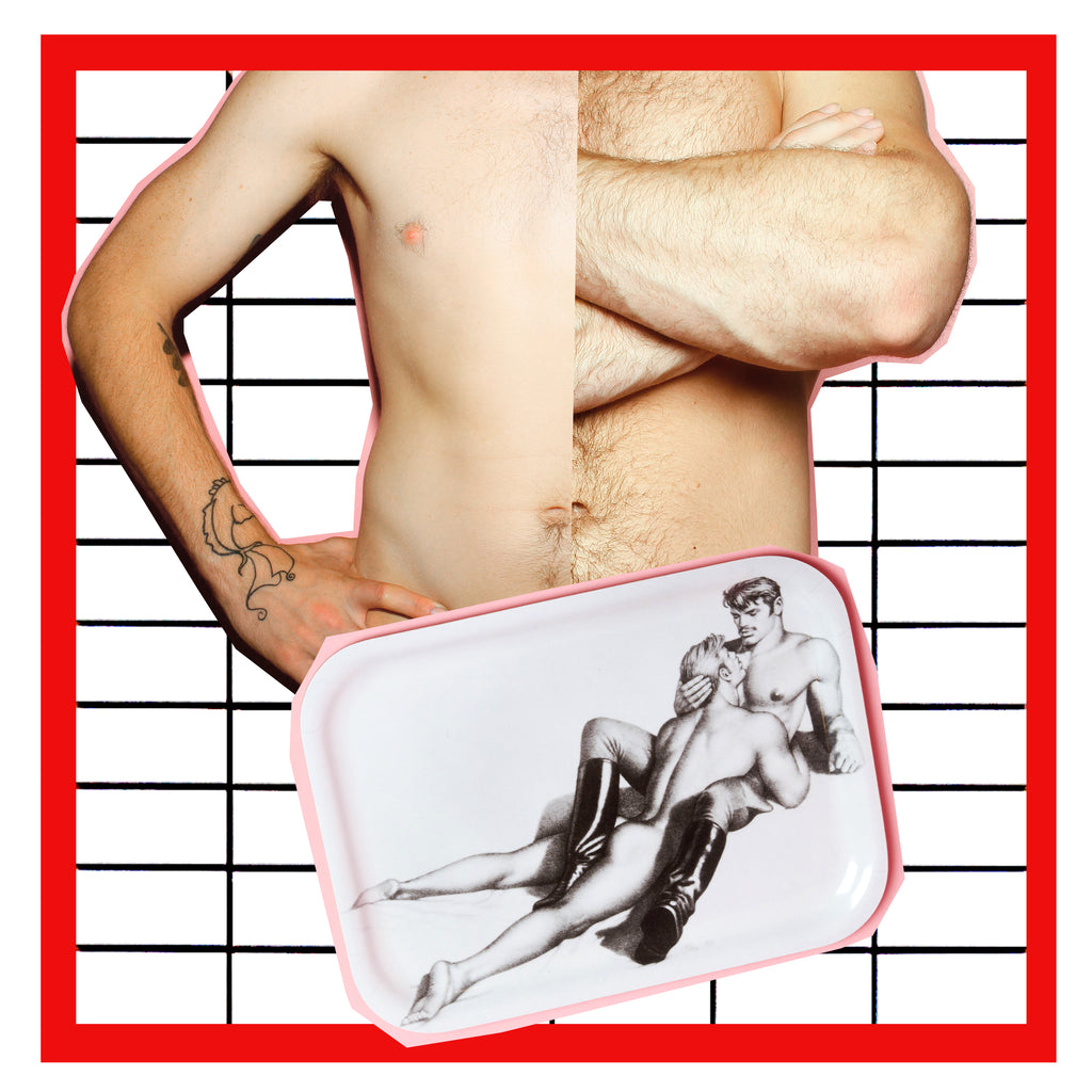 Tom of Finland Lovers Wooden Tray in Black /& White