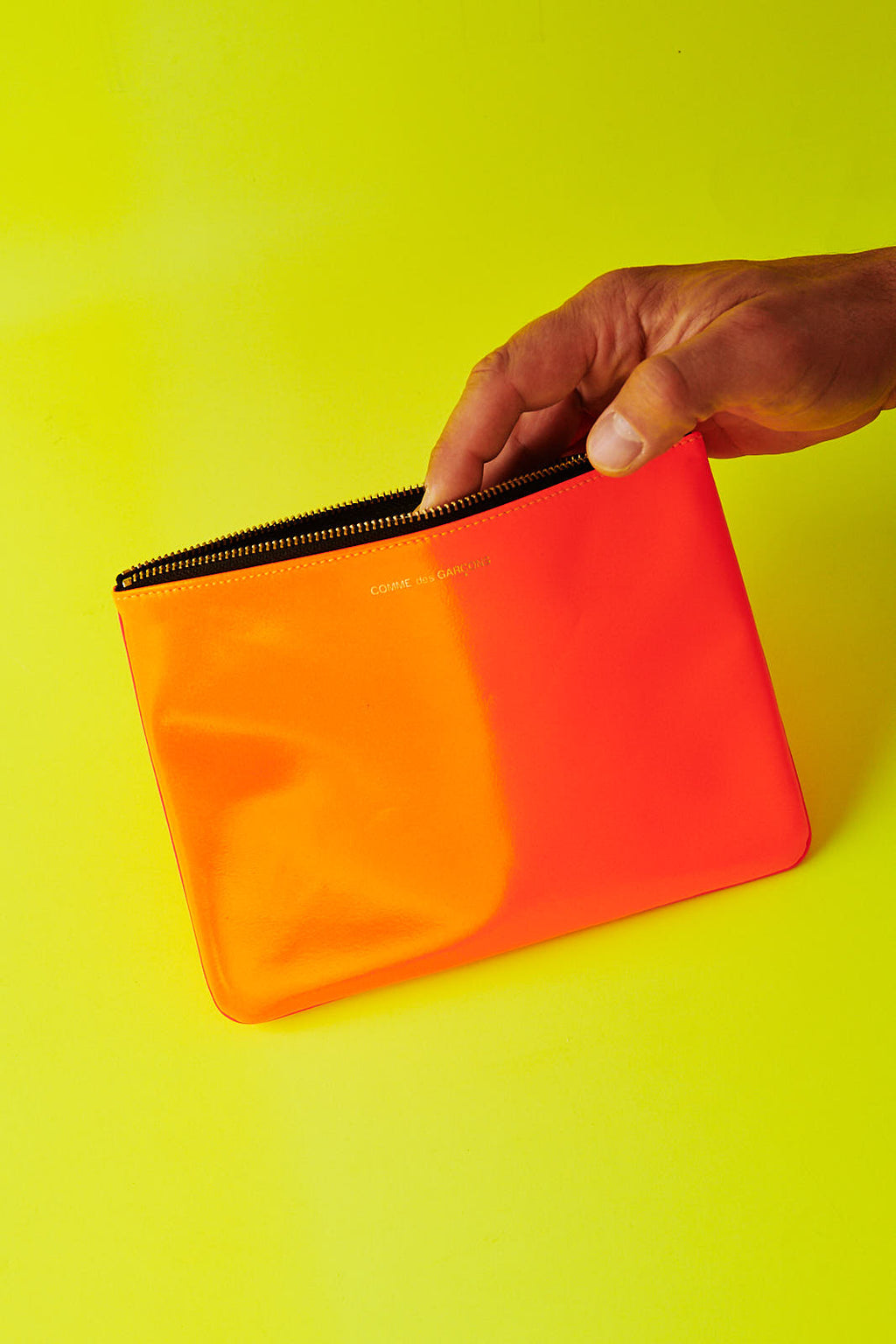 COMME DES GARÇONS SUPER FLUO LIGHT ORANGE / PINK ZIP POUCH WALLET