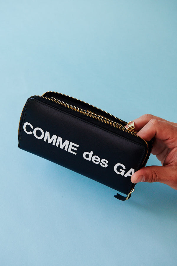 Comme des Garçons Huge Logo Zip Around Wallet (Black)