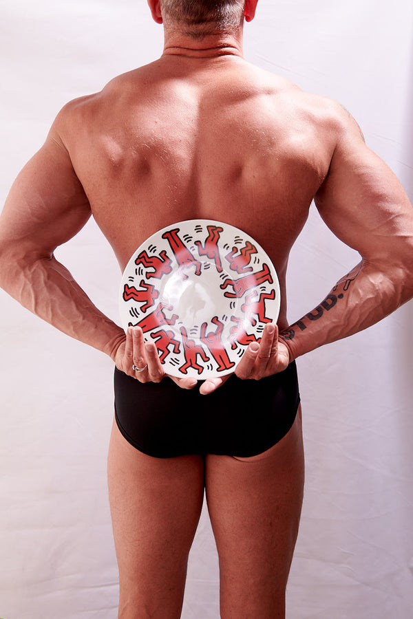 "Keith Haring PORCELAIN and platinum PLATE ""Red on White"""