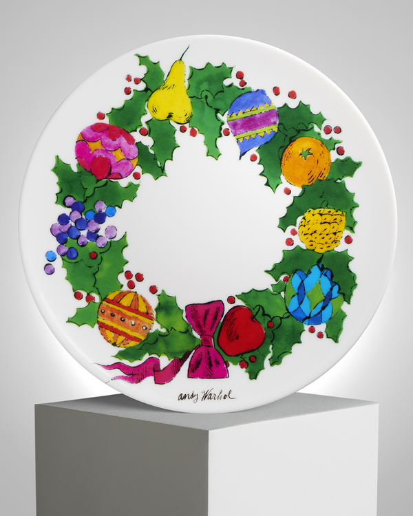ANDY WARHOL PORCELAIN PLATE -  Wreath - CHRISTMAS COLLECTION