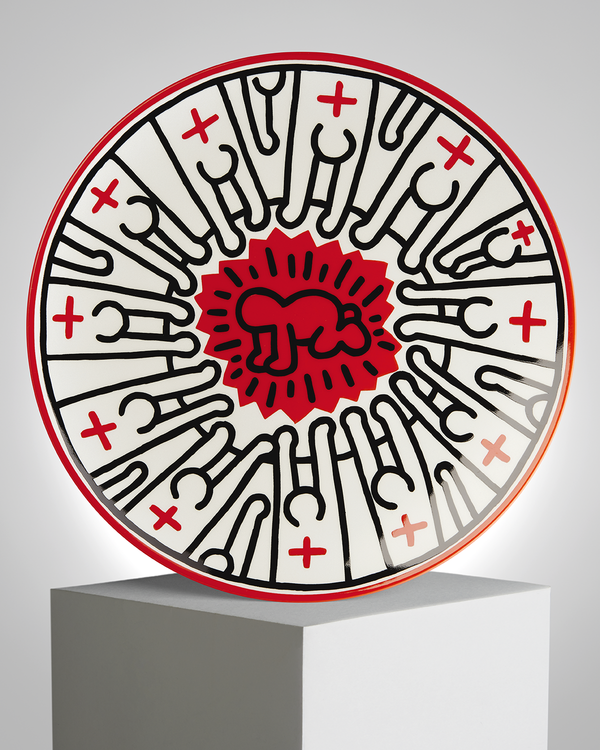 "Keith Haring PORCELAIN PLATE ""SILVER COLLECTION"" #5"