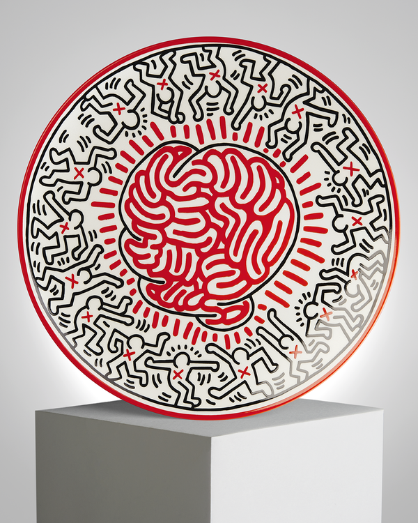 "Keith Haring PORCELAIN PLATE ""SILVER COLLECTION"" #6"