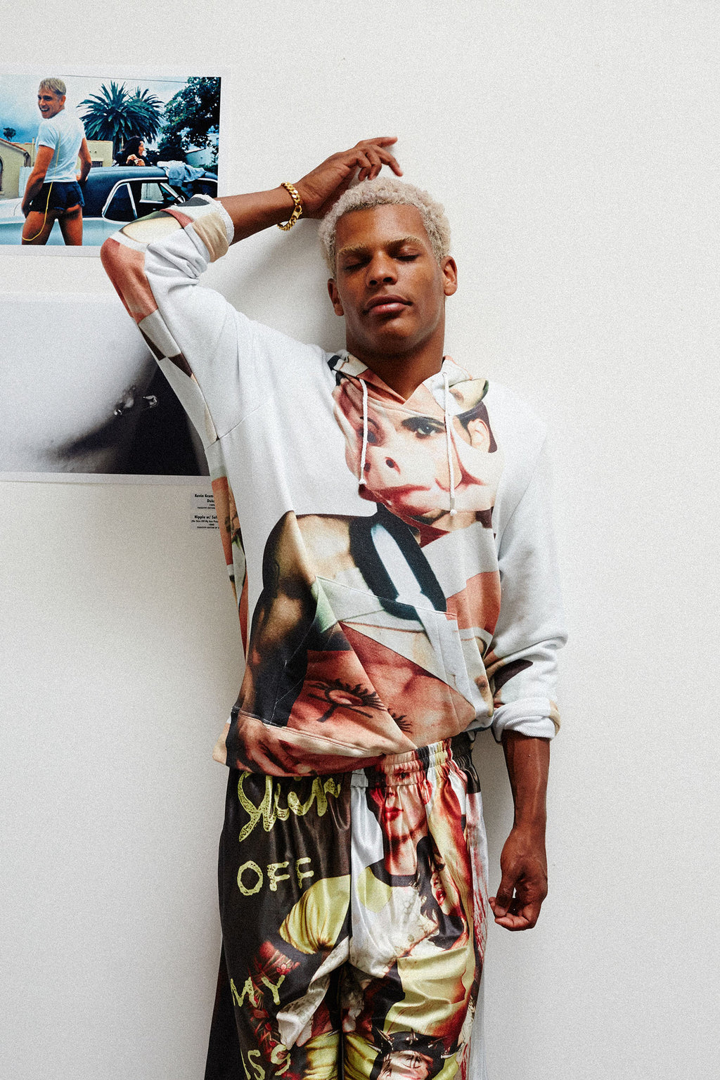 Print All Over Me Bruce LaBruce x Damien Blottiere Hoodie modeled photo