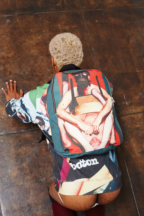 Print All Over Me Bruce LaBruce x Damien Blottiere Backpack modeled photo