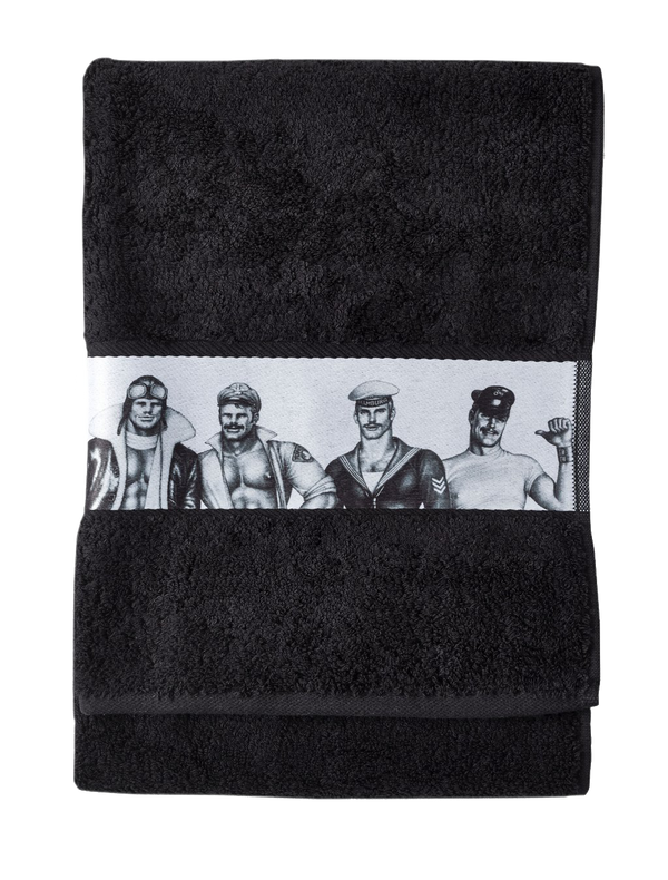 Tom of Finland by Finlayson Fellows Bath Towel in Black