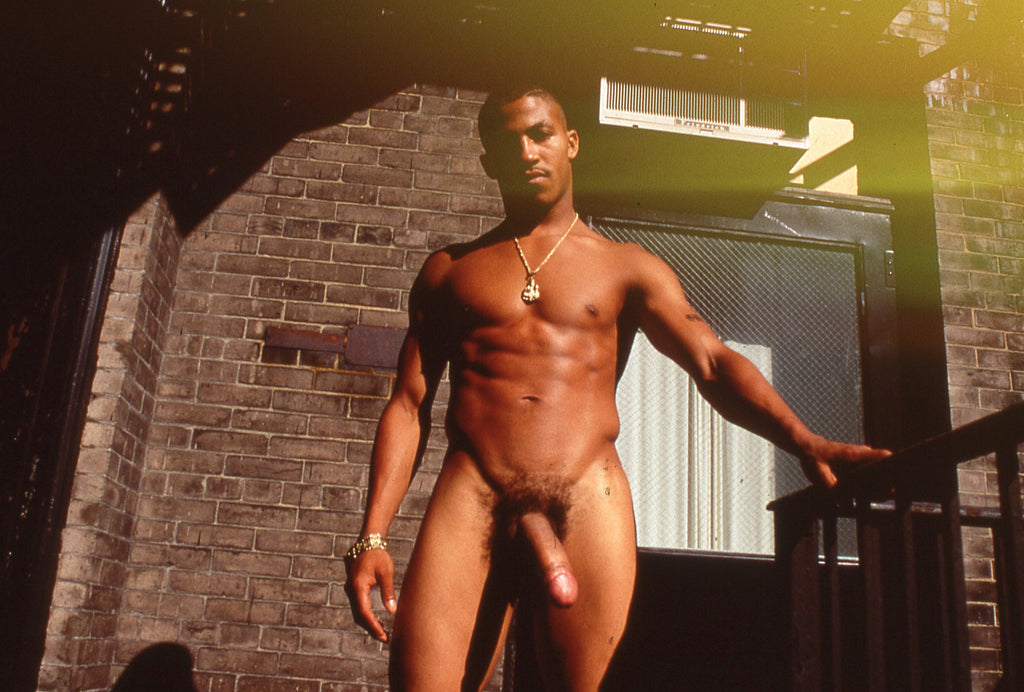 BRUCE LABRUCE, Tiger Tyson on Harmony's Fire Escape at Gramercy Park, 1999