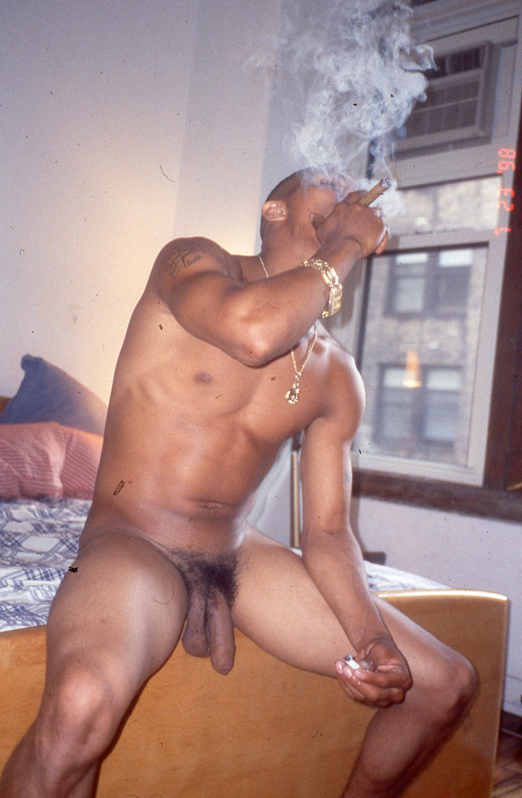 BRUCE LABRUCE, Tiger Tyson Smoking at Harmony's Apartment in Gramercy Park, 1999
