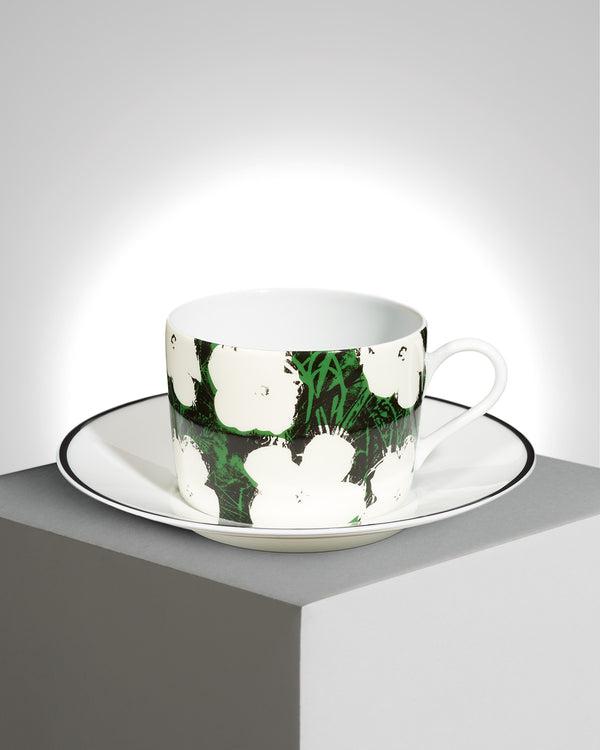 "Andy Warhol Porcelain tea cup & plate ""white flowers"""