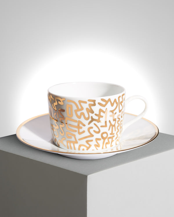 "Keith Haring Porcelain tea cup & plate ""GOLD PATTERN"""