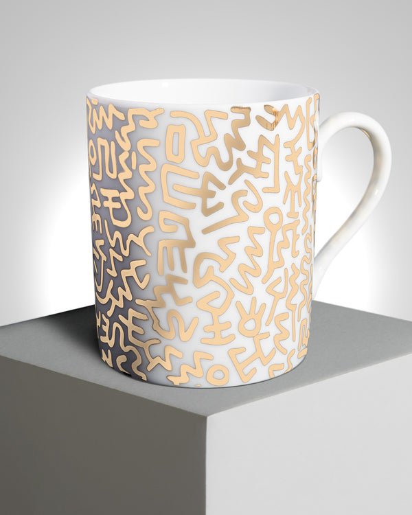 KEITH HARING PORCELAIN MUG GOLD PATTERN