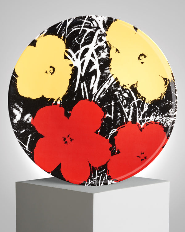 ANDY WARHOL PORCELAIN PLATE - FLOWERS - Yellow / Red