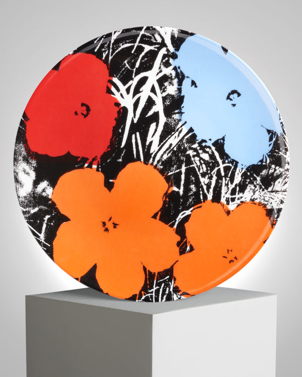 ANDY WARHOL PORCELAIN PLATE - FLOWERS - Blue / Orange / Red