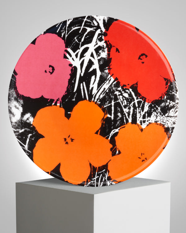 ANDY WARHOL PORCELAIN PLATE - FLOWERS - Red / Pink