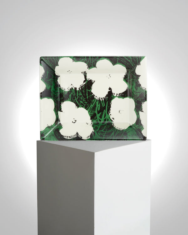 "ANDY WARHOL PORCELAIN TRAY ""WHITE FLOWERS"""