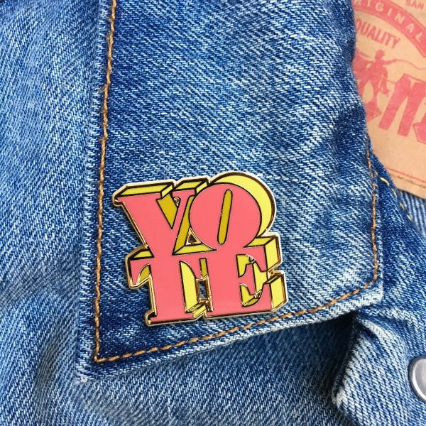 VOTE (Pink & Yellow) Pin By The Found