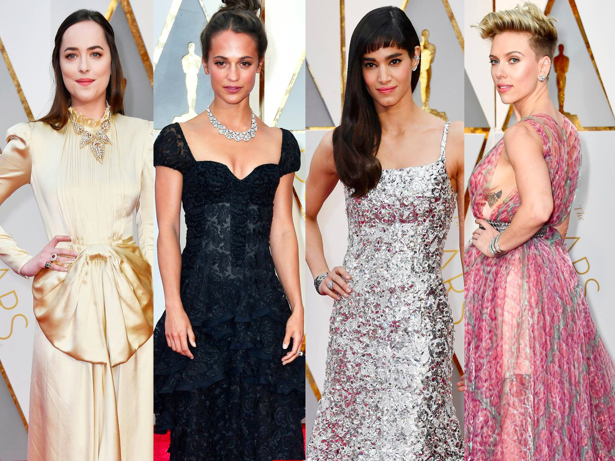 Elegance of Oscars 2017. Beautiful Earrings, Necklaces and Bracelets