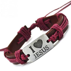 """I Love Jesus"" Leather and Rope Bracelet [Multiple Colors] , bracelet - ornacraft"