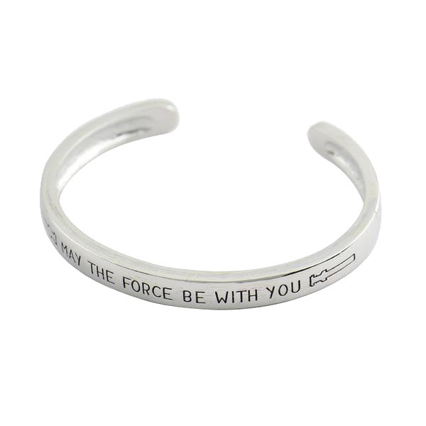 'May The Force Be With You' Hand Stamped Open Bangles Bracelet