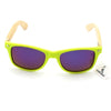 Snazzy Neon Green Wayfarer Bamboo Wood Sunglasses [4 Variants]