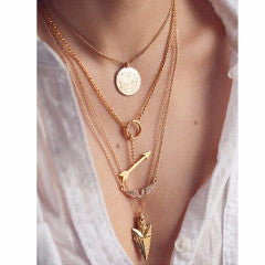 Multilayer Arrow Design and Charm Choker Necklace , necklace - ornacraft