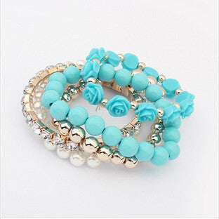 Multilayer Crystal With Beads Flower Charm Bracelets [Multiple Colors Options]