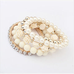 Multilayer Crystal With Beads Flower Charm Bracelets [Multiple Colors Options] , bracelet - ornacraft