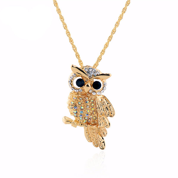 Crystal Golden Owl Pendant Necklace