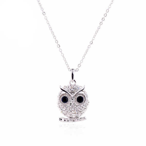 Crystal Tiny Silver Owl Pendant Necklace