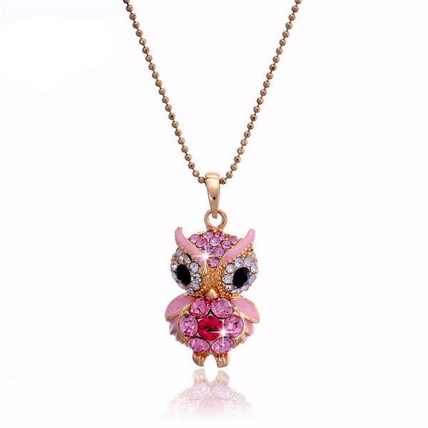 Crystal Owl Pendant Necklace , necklace - ornacraft