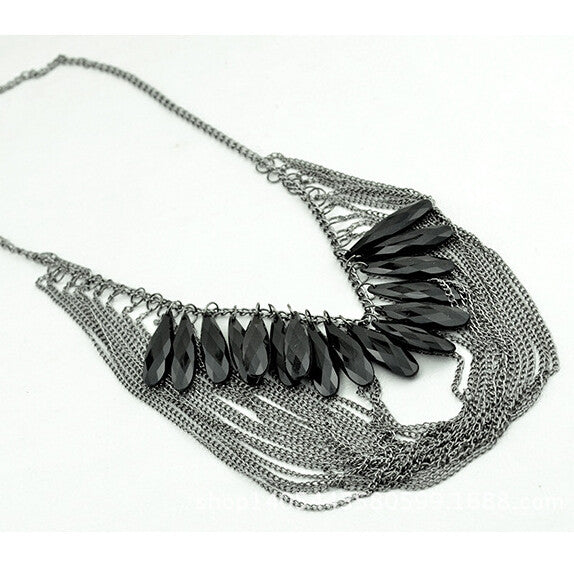 Black Droplets Multilayer Crystal Tassel Necklace , necklace - ornacraft