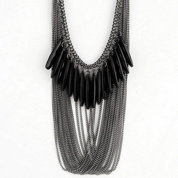 Black Droplets Multilayer Crystal Tassel Necklace