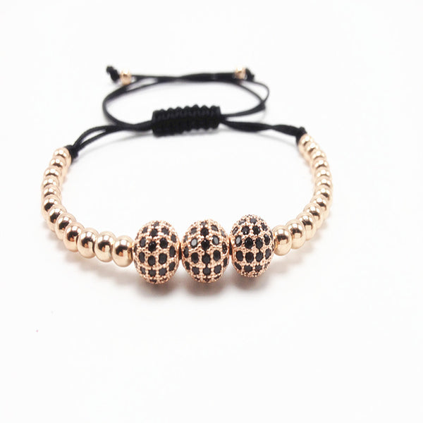 8mm Micro Pave Setting Black Macrame Bracelet [4 options]