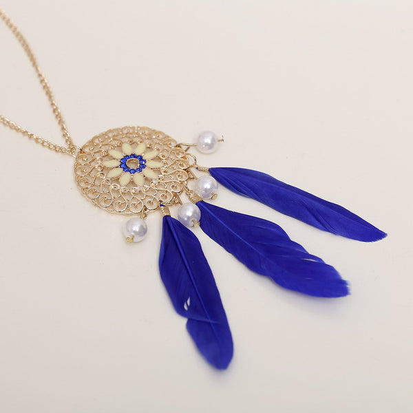 Collier Femme Plume Native American Fringe Feather Necklace , necklace - ornacraft