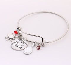 """I've Got A Dream"" Hand Stamped Crystals Charm Bangles , bracelet - ornacraft"
