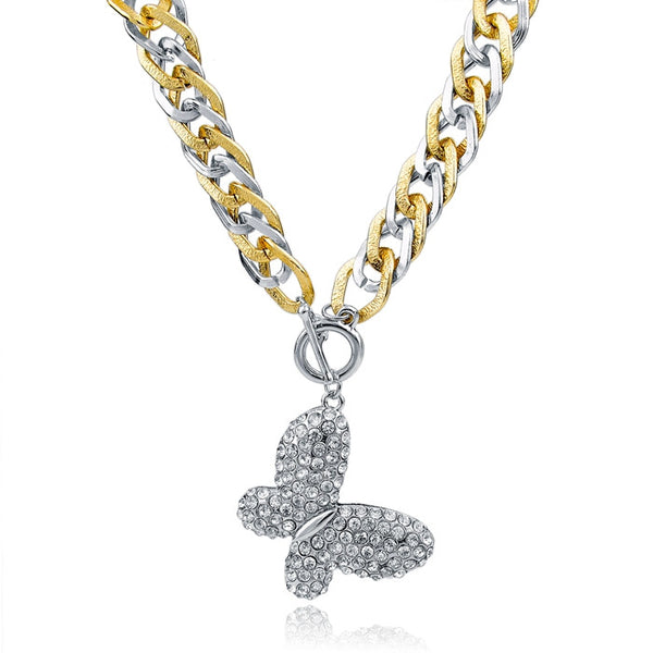 Crystal Butterfly Pendant Necklaces , necklace - ornacraft