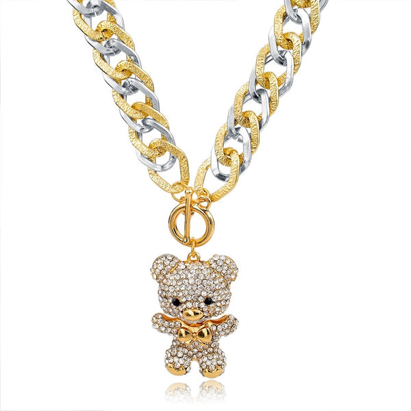 Crystal Bear Hug Pendant Necklaces