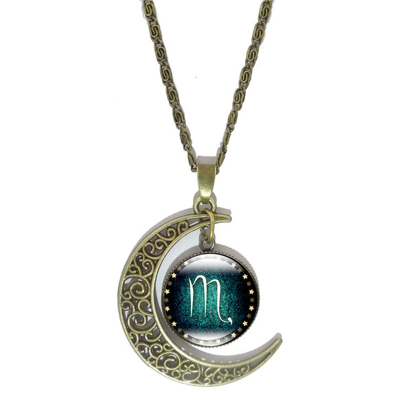 Zodiac Pendant Vintage Moon Necklace [All Sign Pendants] , necklace - ornacraft