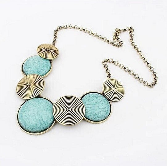 Vintage Statement Round Metal and Turquoise Stone Necklaces