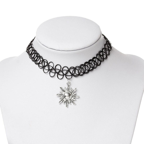 Black Choker Necklace With Multiple Silver Pendants