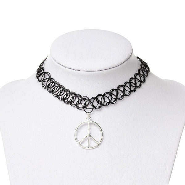 Black Choker Necklace With Multiple Silver Pendants , necklace - ornacraft