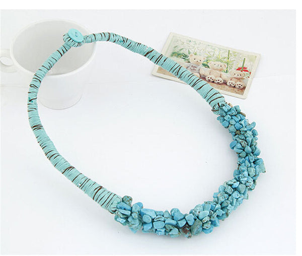 Bohemian Multi-Color Natural Stone Choker Collar Necklace [Multiple Color Options]